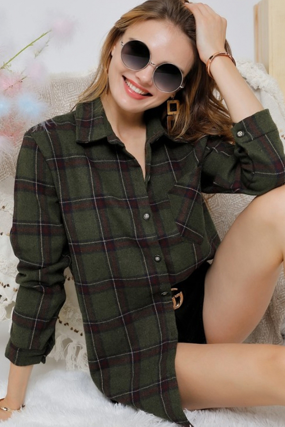 CHECK FLANNEL SHIRTS DRESS WITH LONG - orangeshine.com
