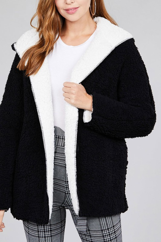 REVERSIBLE FUR SOFT FLUFFY JACKET - orangeshine.com