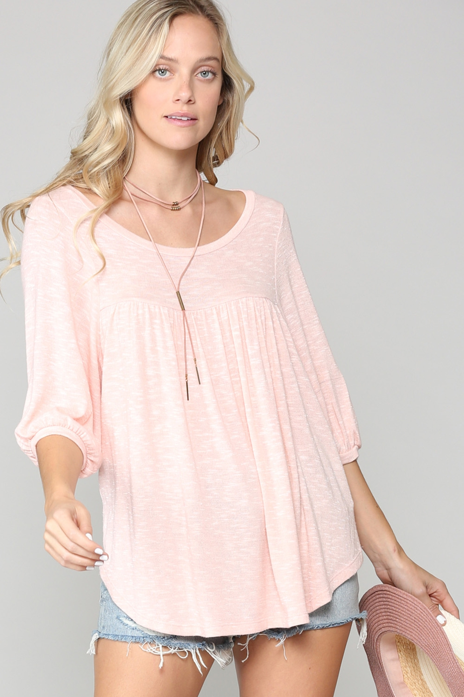 RUFFLED BODY PUFF SLEEVES TOP - orangeshine.com