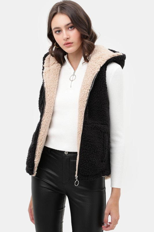 Faux Sherpa Teddy Fleece Vest Jacket - orangeshine.com