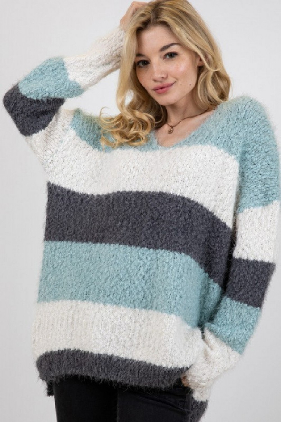 COLORBLOCK STRIPED THICK KNIT SWATER - orangeshine.com