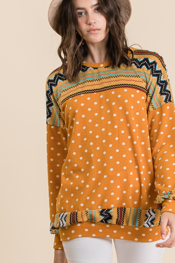 Winter Aztec Detailed Polka Dot Swea - orangeshine.com
