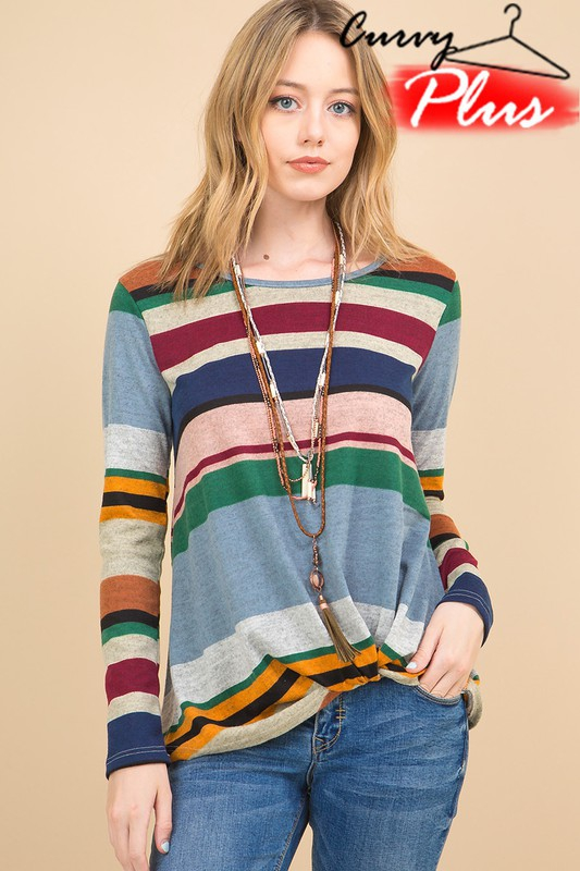 MULTI STRIPED PRINT FRONT KNOT TOP - orangeshine.com