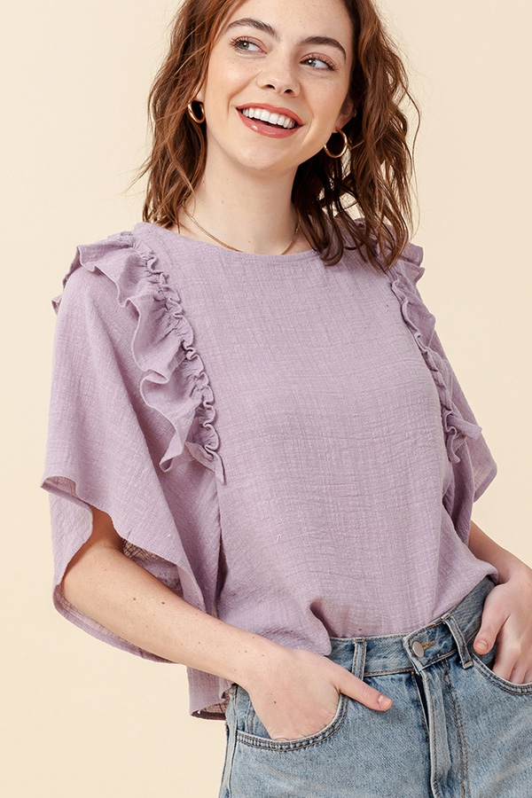 RUFFLE SLEEVE BOXY TOP - orangeshine.com