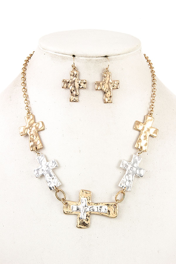 HAMMERED CROSS LINK NECKLACE SET   - orangeshine.com