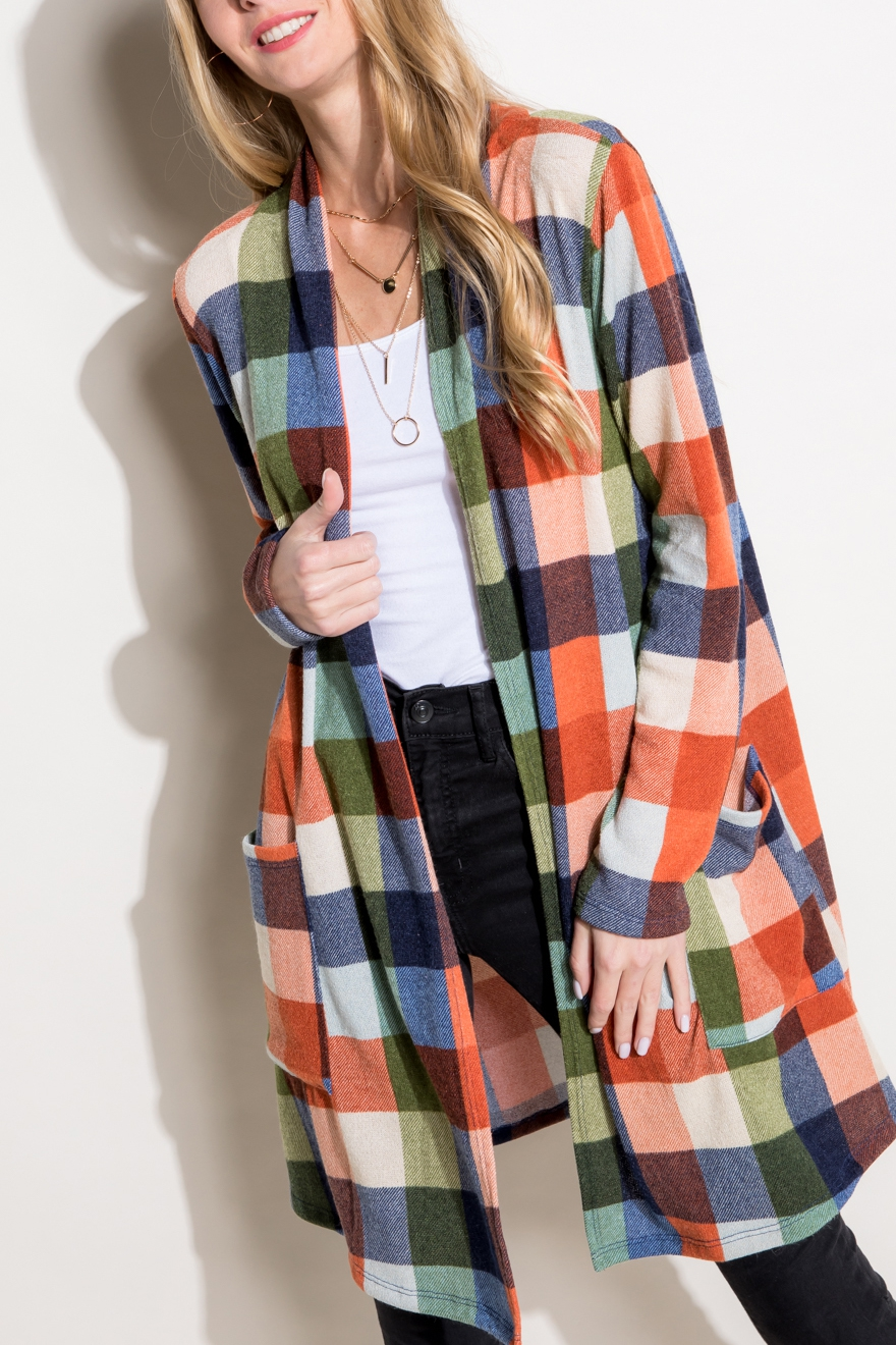 CHECKER MULTI PLAID LONG CARDIGAN - orangeshine.com