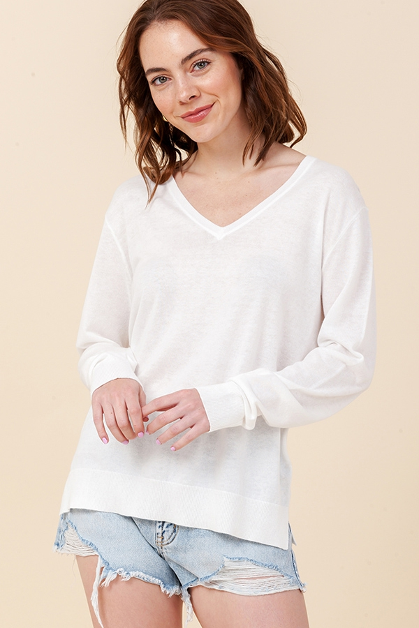 V NECK LONG SLEEVE SWEATER  - orangeshine.com