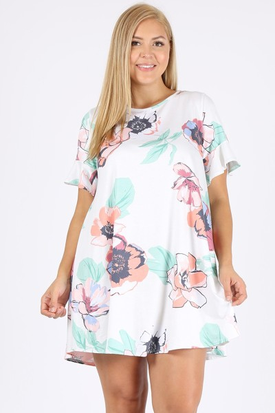 PLUS SIZE MULTI PRINT DRESS  - orangeshine.com