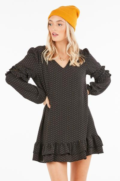 LONG SLEEVE RUFFLED BABY DOLL DRESS - orangeshine.com