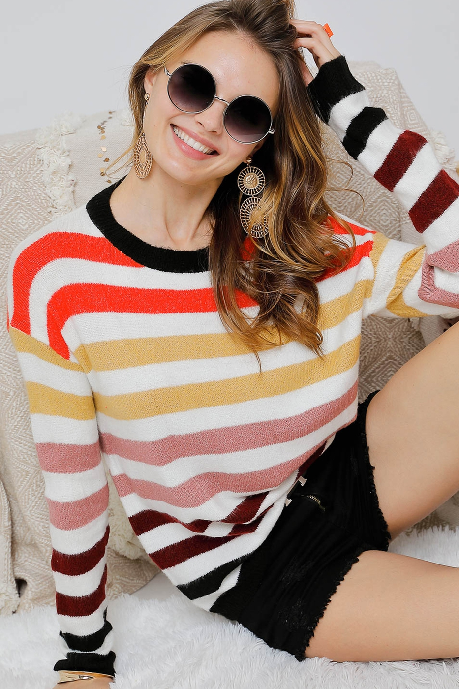 LONG SLEEVE CROCHET SWEATER - orangeshine.com