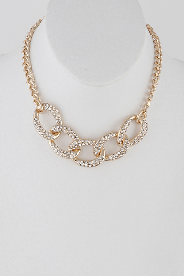 Chainlink Choker Necklace with Rhine - orangeshine.com