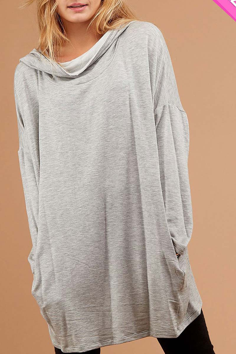 COWL NECK LOOSE FIT POCKET TUNIC TOP - orangeshine.com