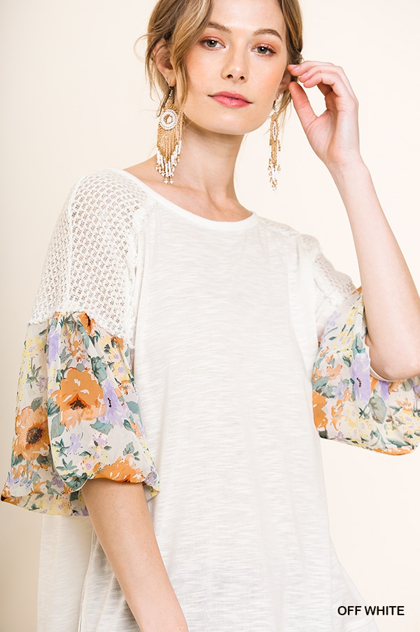 Floral Long Puff Sleeve Top - orangeshine.com