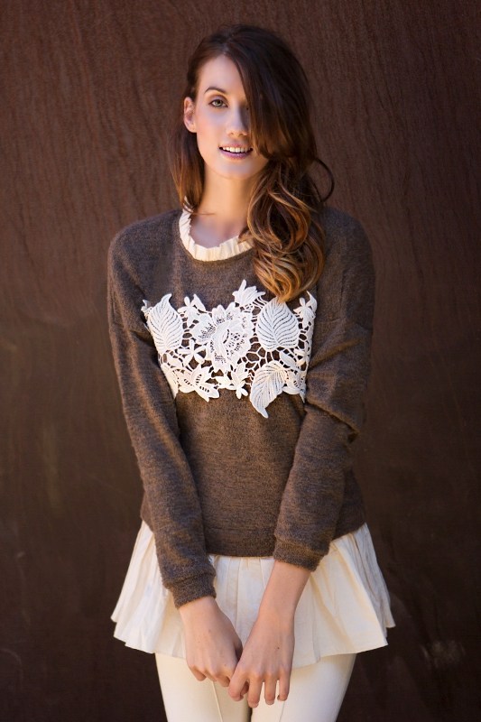 AT5848 LONG SLEEVE SWEATER FLORAL - orangeshine.com