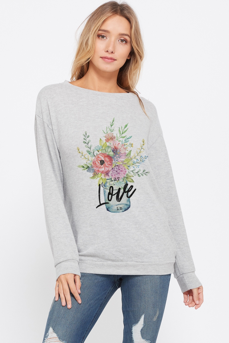 Love flowers sweatshirt long sleeve  - orangeshine.com
