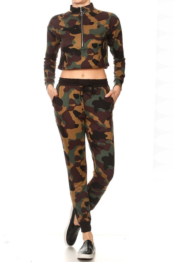Camo Sets Crop Tops Joggers pants - orangeshine.com
