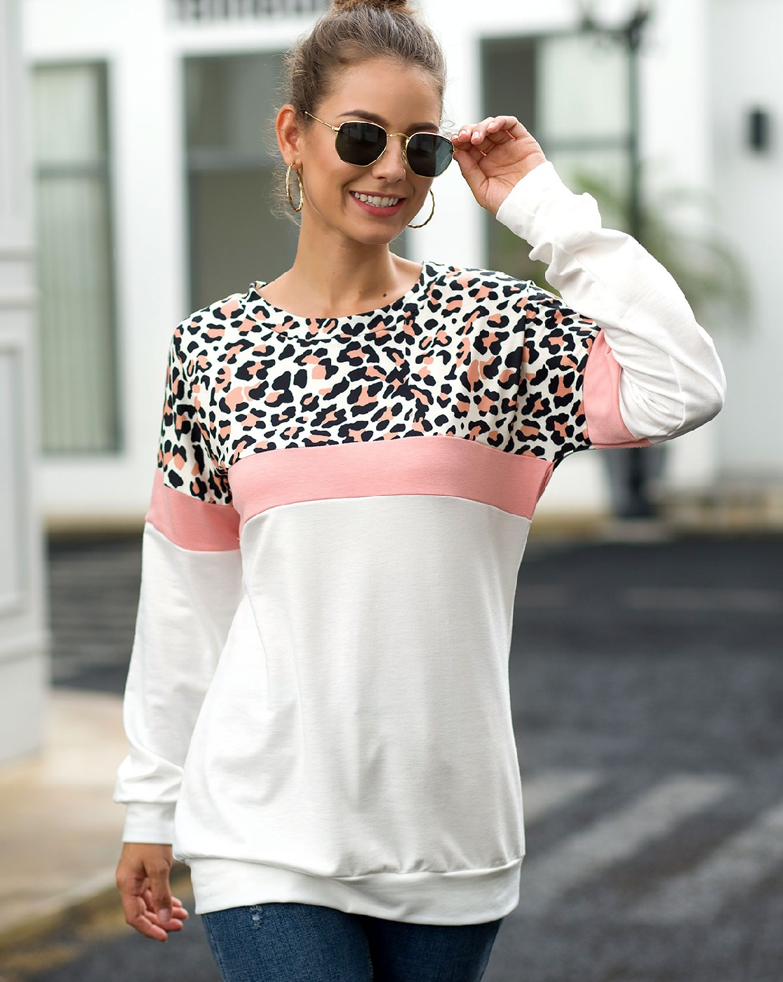 Long sleeve Leopard Patchwork Tops - orangeshine.com