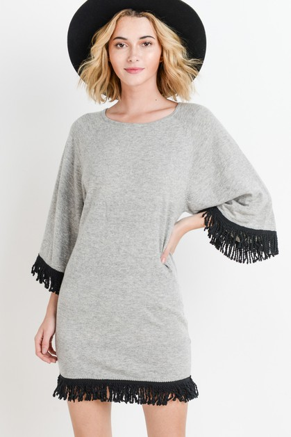 Tunic Dress With Fringe - orangeshine.com