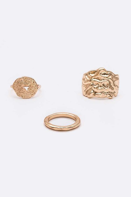 Textured Iconic Ring Set - orangeshine.com