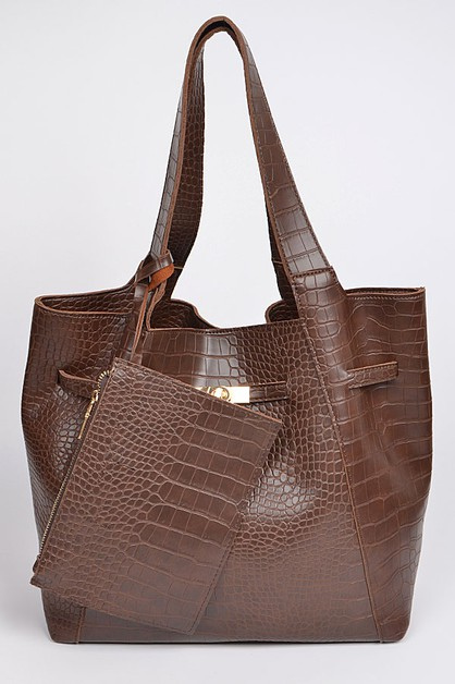 Monotone Snakeskin Leather Bag - orangeshine.com