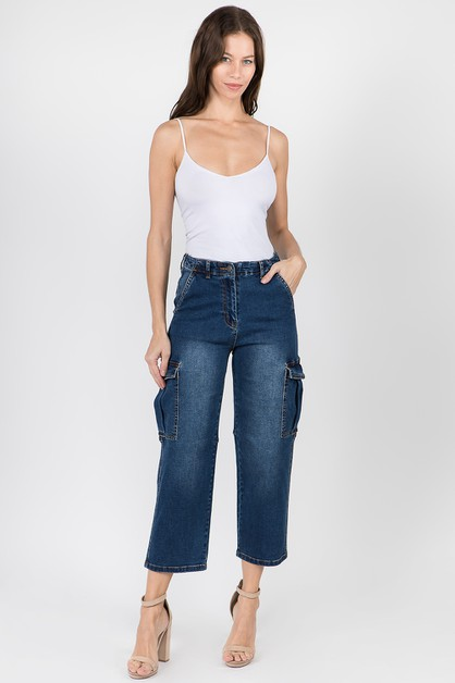 HIGH WAIST DENIM STRAIGHT JEANS - orangeshine.com
