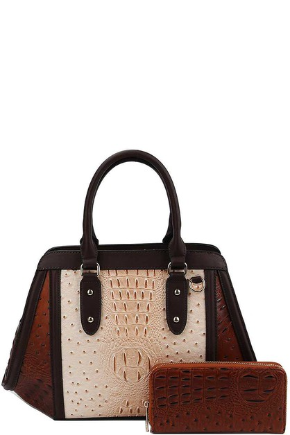 TWO TONE CROCO PATTERN SATCHEL - orangeshine.com