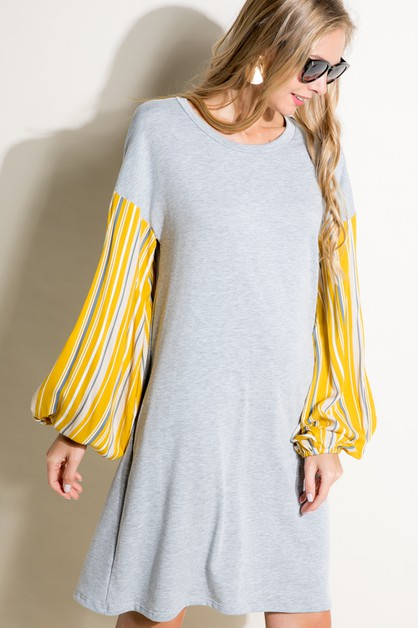 SOLID STRIPE VOLUME SL MINI DRESS - orangeshine.com