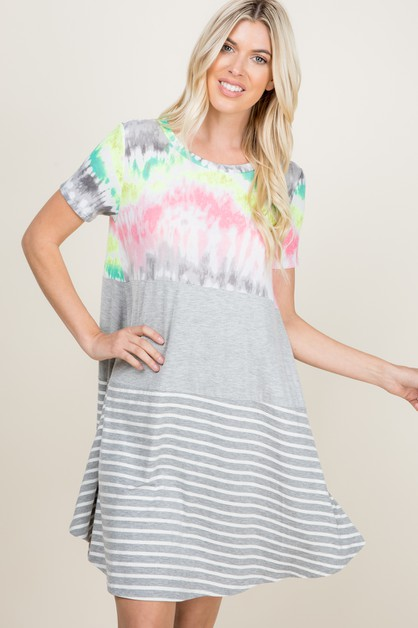 PARTIALLY TIE DYE AND STRIPED DRESS - orangeshine.com