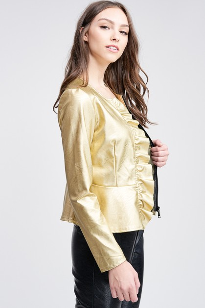 PU LEATHER JACKET WITH RUFFLE ZIP UP - orangeshine.com