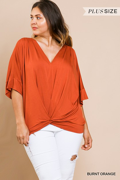 Bell Sleeve Basic V-Neck Top - orangeshine.com