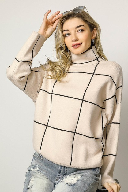 GRID PATTERN ACCENT MOCK NECK SWEATE - orangeshine.com