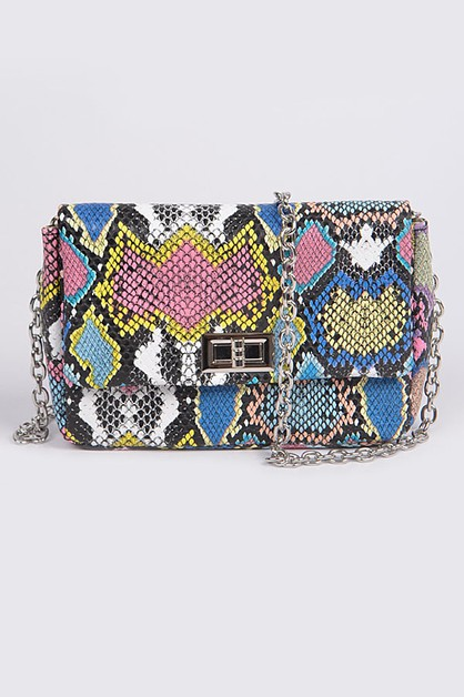 Multicolor Melt Snakeskin Clutch - orangeshine.com