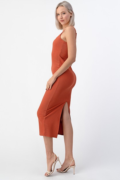 RIBBED CAMI MAXI DRESS WITH BACK SLI - orangeshine.com