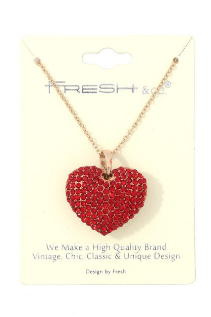 RHINESTONE HEART SHAPE NECKLACE - orangeshine.com