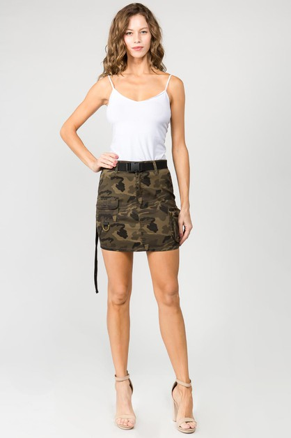 MINI SKIRTS W UTILITY POCKETS BELTED - orangeshine.com