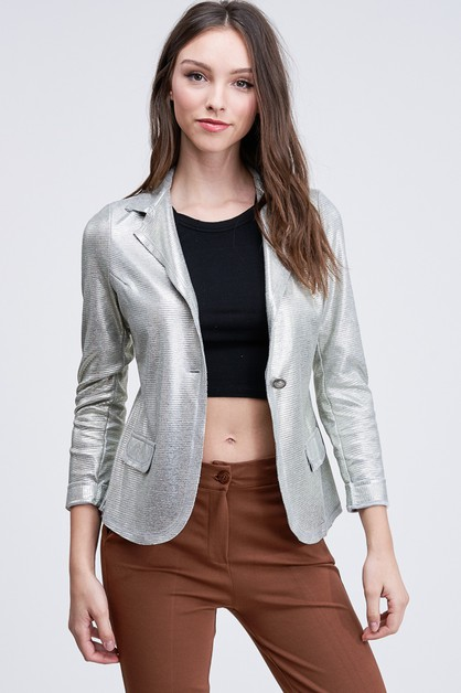 METALLIC EMBOSSED BLAZER - orangeshine.com