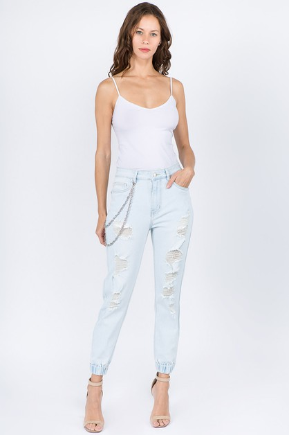 HIGH WAIST DISTRESSED DENIM JOGGERS - orangeshine.com