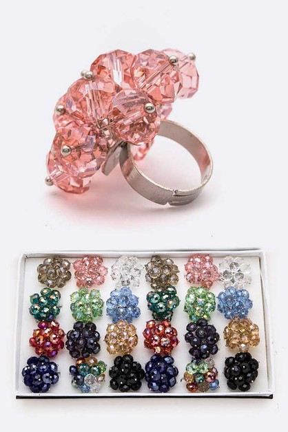 Glass Beads Adjustable Mix Ring Set - orangeshine.com