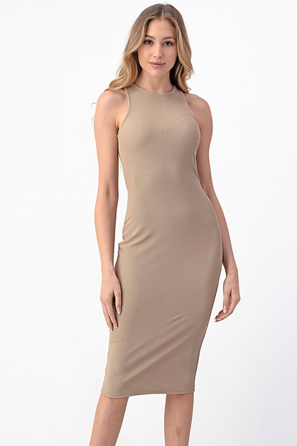 TANK RIB MIDI DRESS - orangeshine.com