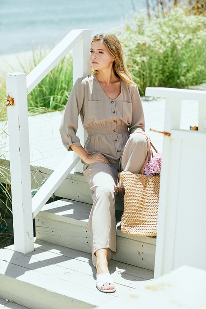 Solid Button Down Jumpsuit - orangeshine.com