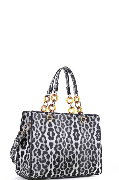 TEXTURED LEOPARD TOTE WITH CHAIN - orangeshine.com