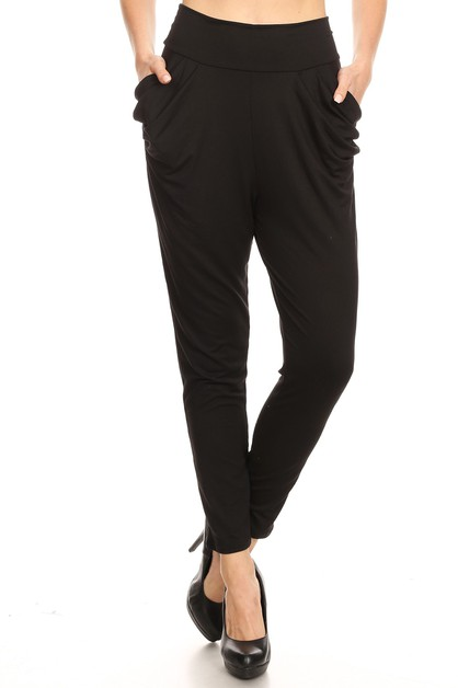 Black Relax Semi Harem pants Casual - orangeshine.com