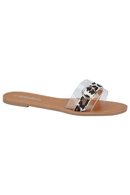 Clear Flat Slipper Sandals - orangeshine.com