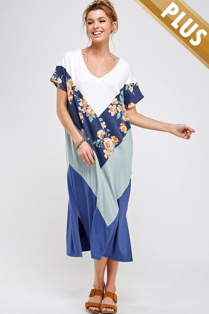 PLUS SIZE FLORAL COLOR BLOCK DRESS - orangeshine.com