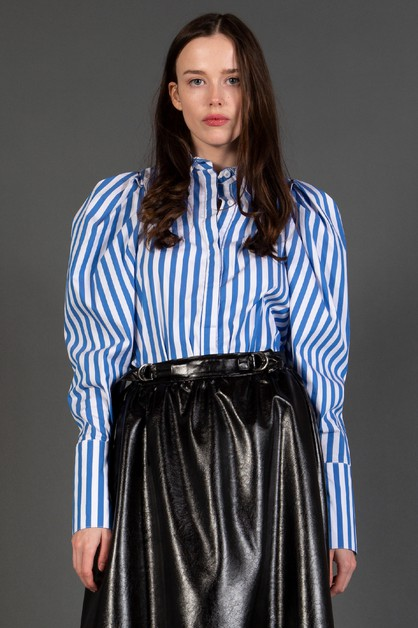 Striped Top with Bishop Sleeves - orangeshine.com