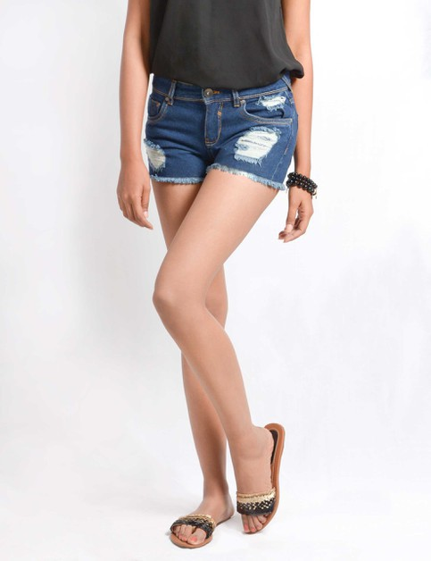 Womens Ripped Denim Shorts  - orangeshine.com