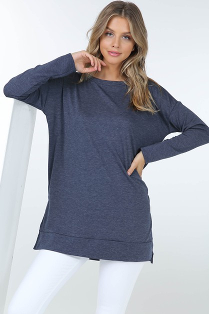 French Terry Long Sleeve Tunic Top W - orangeshine.com