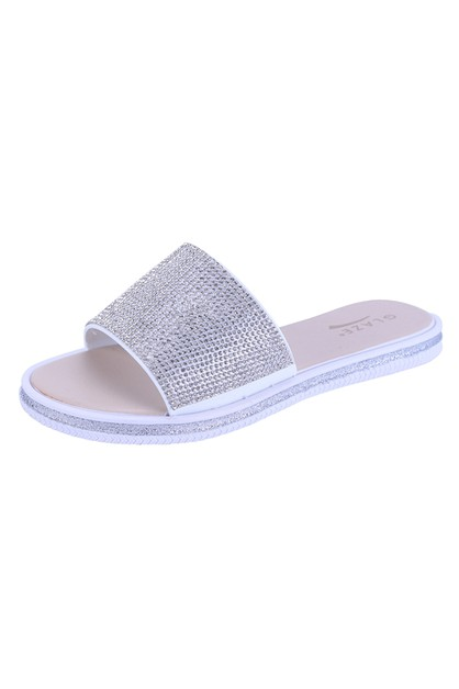 Women Glitter Flat Slipper Sandals - orangeshine.com
