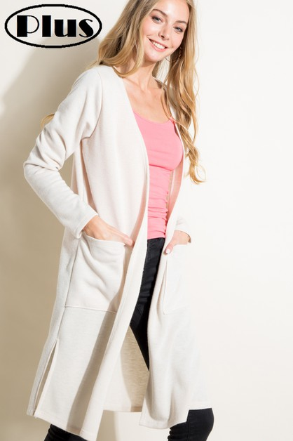 MOHAIR SOLID SIDE SLIT PLUS CARDIGAN - orangeshine.com