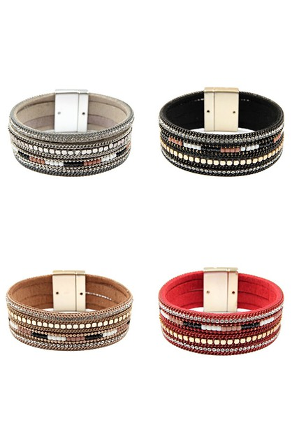 MIX LEATHER MAGNETIC BRACELET - orangeshine.com